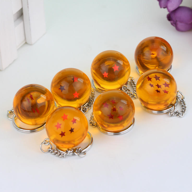 Fashion Anime Charm Goku Dragon Ball Super Keychain 3D 1-7 Stars Cosplay Crystal Ball Key chain Collection Toy Gift key Ring