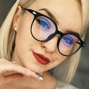 [RTS] New cheap unisex retro transparent spectacle frame anti-blue round PC frame student glasses
