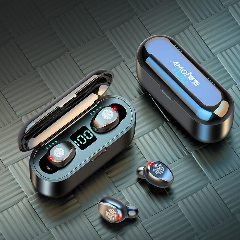 Bluetooth Earphone Nirkabel Earbud dengan Charge Case LED Baterai Display Hi Fi Stereo Suara