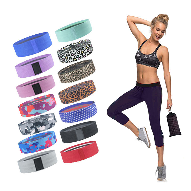Hip booty band elastic exercise workout yoga fitness fabric resistance bands with custom logo