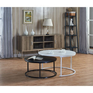 rustic luxury wood mirrored smart metal frame contemporary round black white mdf coffee table small modern design living room