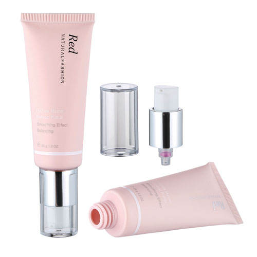 D30mm Pink empty cosmetic tube with silver pump