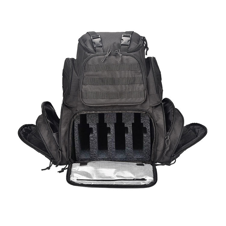 Large 4 Pistol Backpack Gun Range Bag Shooting Tactical Range Molle Backpack