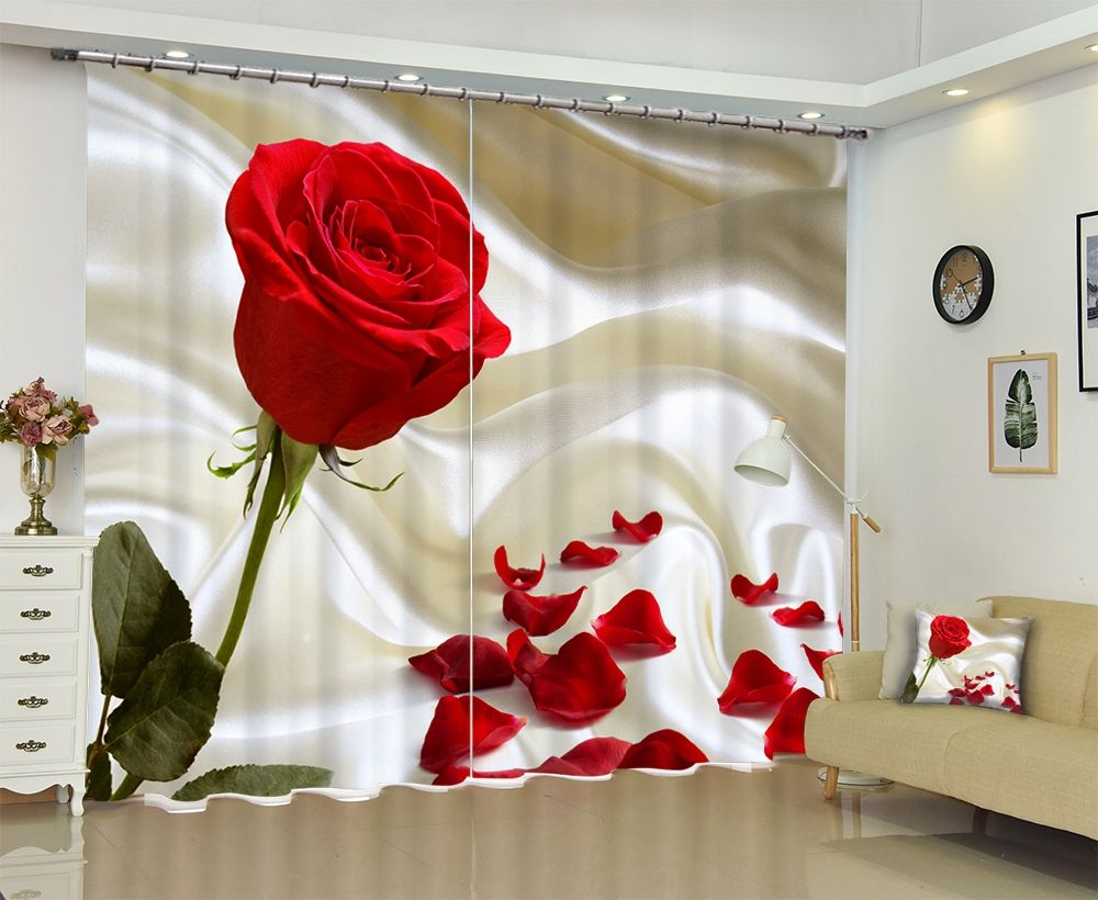 2021 Bestselling 3D Printing The roses Shade Curtains Comfortable %100 Curtain Of Sitting Room