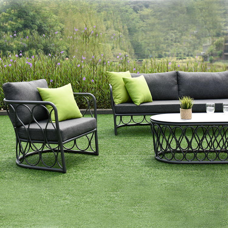 Contemporary Outdoor Office Furniture Sofa Set Garden Conversation Set Living Room SOHO Chair With Quick Dry Cushions