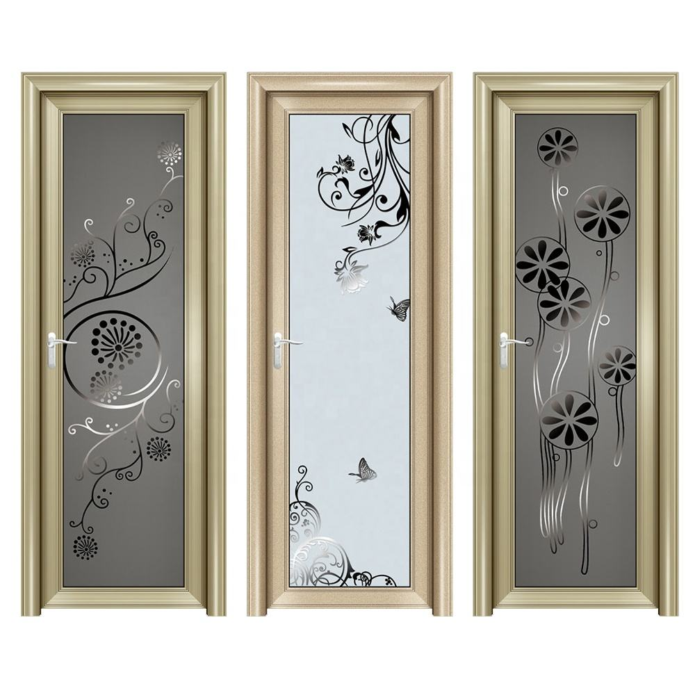 Cheap price waterproof interior glass windows doors aluminum bathroom door