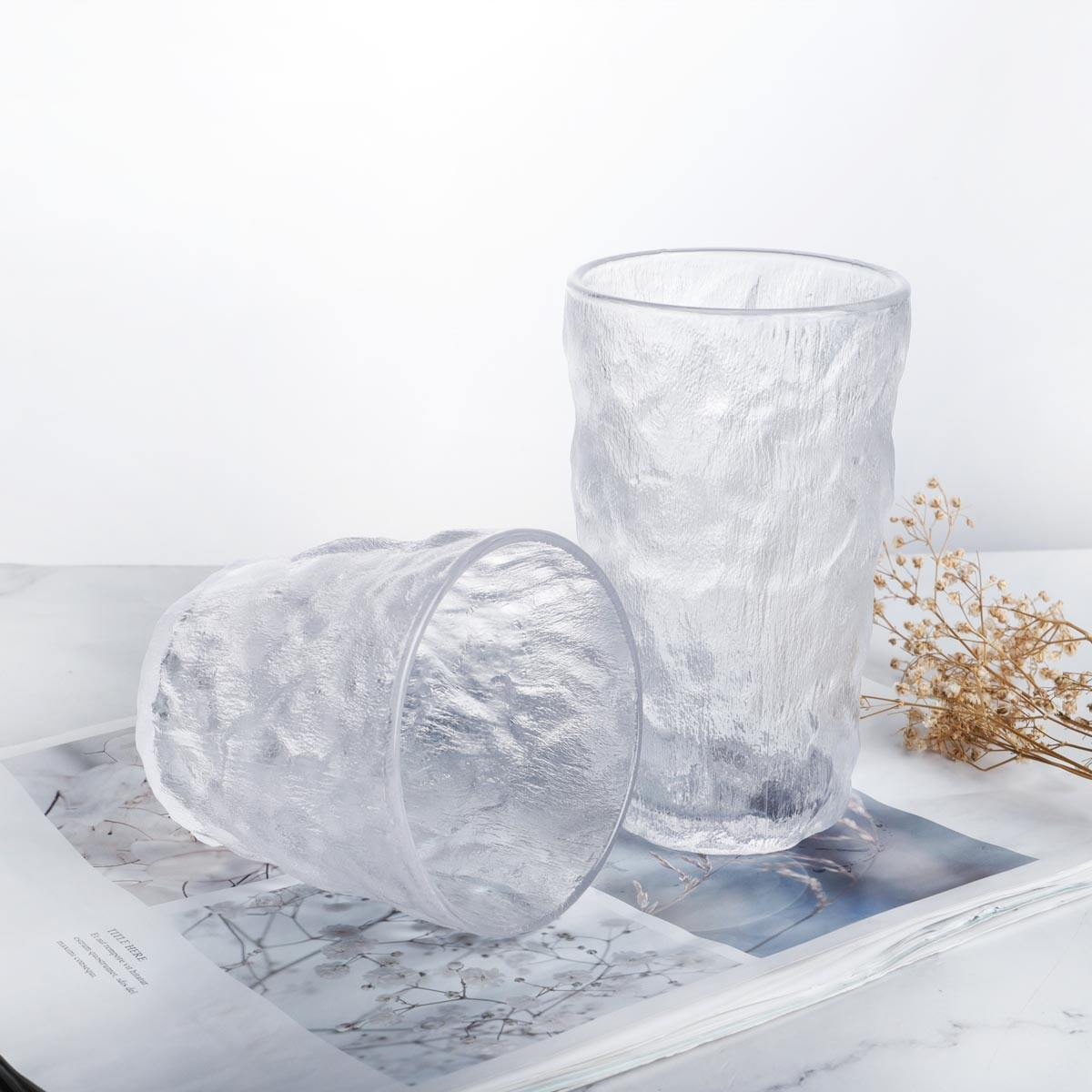 Wholesale bark pattern Japanese hammer pattern glass frosted platform pressed glass tumbler