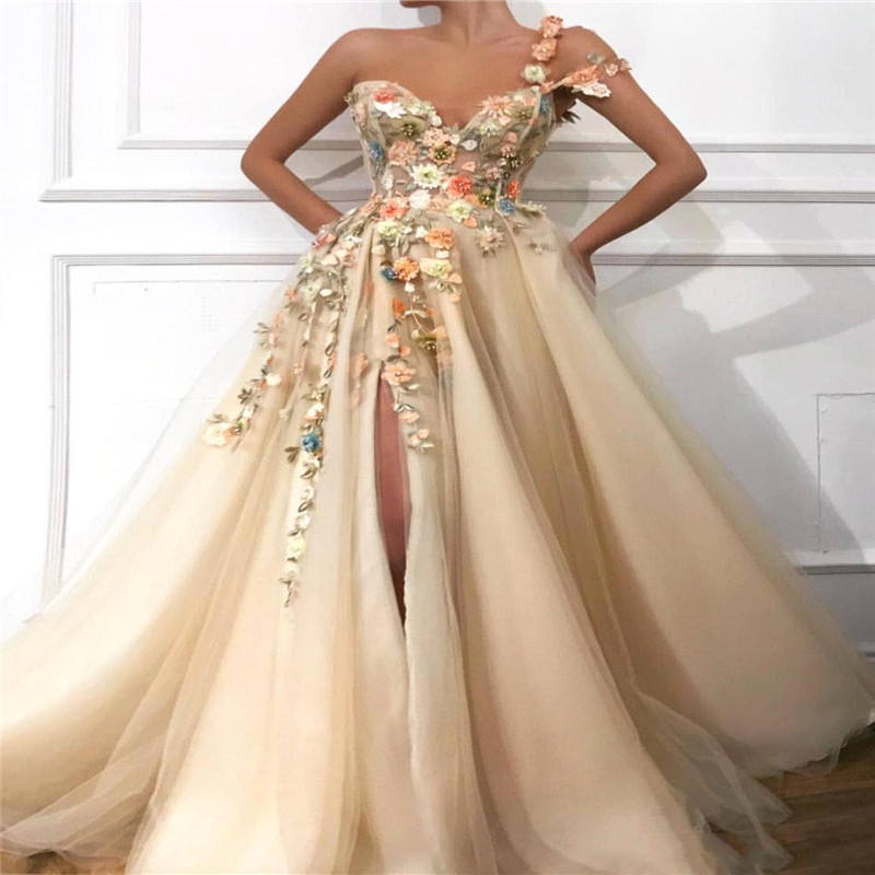 Evening Dresses 2020 A-Line Off The Shoulder Flowers Appliques Dubai Saudi Arabic Long Evening Gown Prom Dress