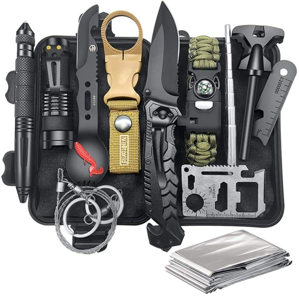 14 In 1 Survival Gear Sendersmo Amazon Gift Tactische Outdoor Survival Auto Camping <span class=keywords><strong>Wandelen</strong></span> Survie Edc Tool Emergency Survival Kit