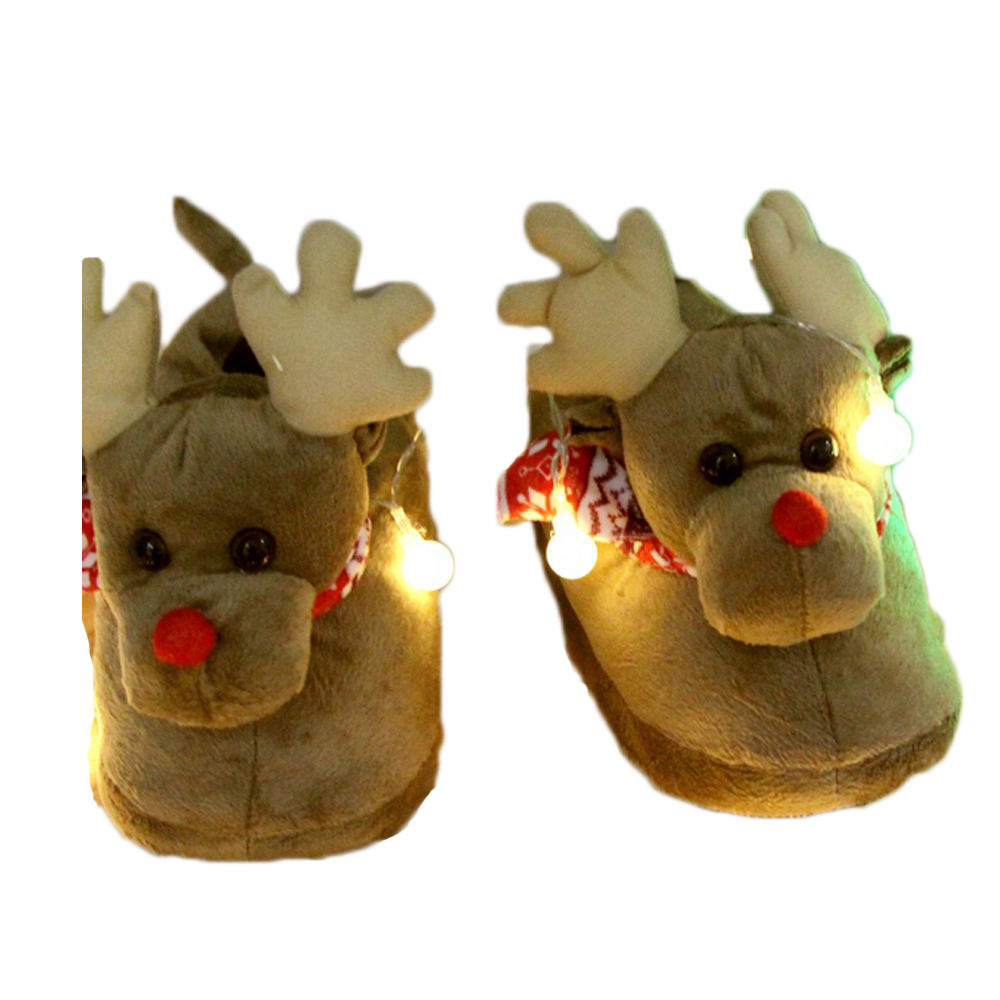 Winter couple Cartoon Elk Deer House Soft Cotton Warm cotton Shoes Winter Home Slippers Anti-Slip Shoes slippers