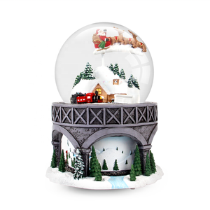 Resin Electric Rotating Cute Snow Ball Globe Mini Santa Clause White Christmas Yard Snow Globes with Music Tree for Kids