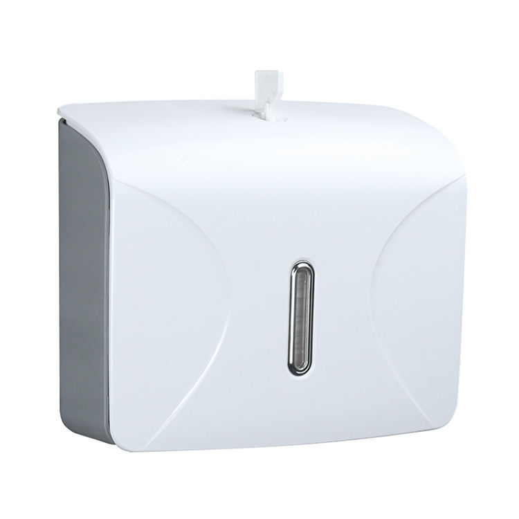 Wall Mounted Plastic Tissue Dispenser Bathroom Toilet Roll Paper Towel Holder with Tissue Box Shelf and Cover