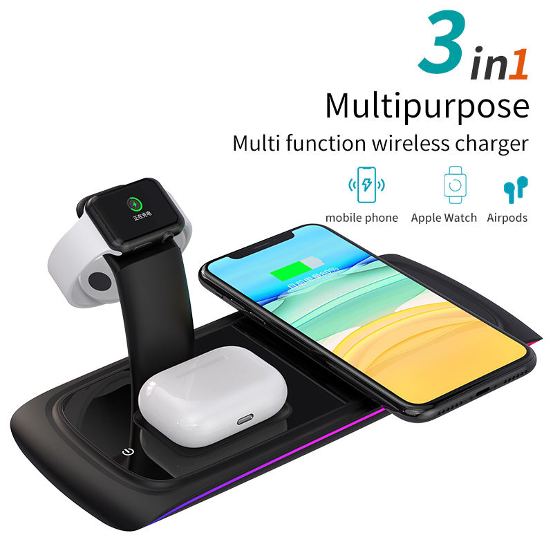 Factory Whole sale 3 in 1 15W Q1 standard wireless fast charger for Airpods and watch and smart phone