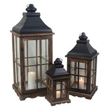 Small size outdoor garden decoration wooden candle lantern