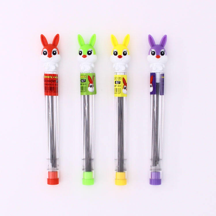 Cartoon lovely rabbit design 0.5/0.7 mm HB/2B durable refill pencil lead with lead box