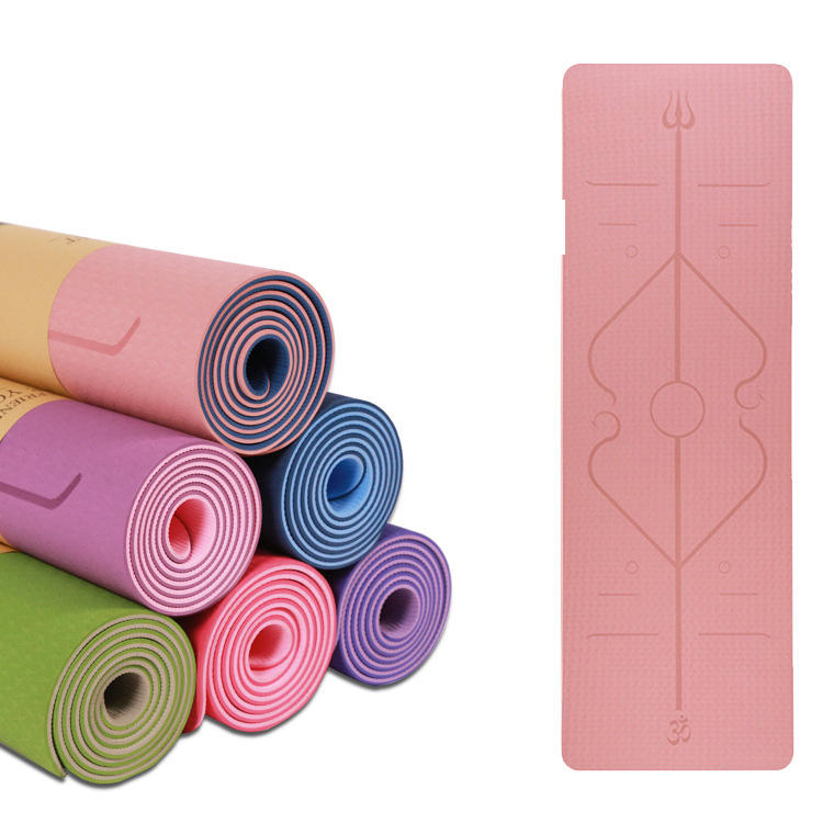 Wholesale New Product Printed Anti-slip Eco Friendly Fitness Double Layer TPE Yoga Mat