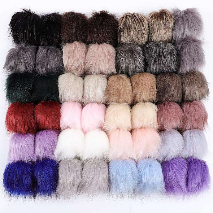 Wholesale Pom Pom For Beanie Hats, Snap On fluffy fox fur Pompom, Detachable Faux raccoon Fur Ball