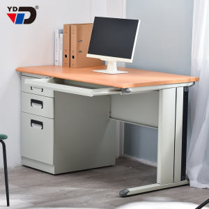 School office furniture steel metal wooden MDF 25mm tabletop computer sturdy desk with drawer cabinet
