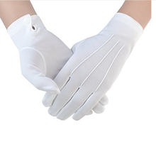 White Cotton gloves with button