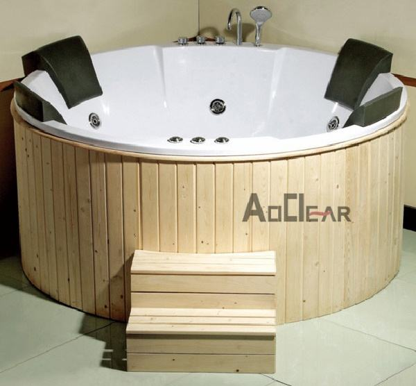 4 And 5 Person Laundry Surround Modern Inch Wooden Freestanding Soaking Hot Tubs Air Bubble Jet Round Shaped Drop In Bath Tubs