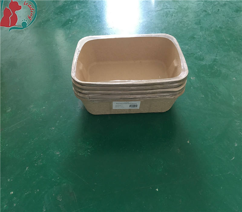 Disposable recycled paper pulp molded cat litter box tray