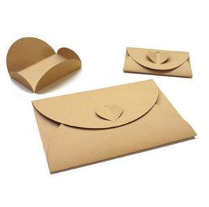 Retro European Love Button Envelope DIY Kraft Paper Envelope Creative Heart Button Decoration Romantic Love Letter Envelope