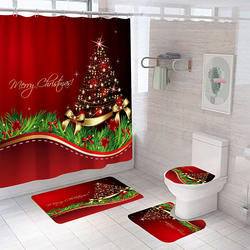 christmas shower curtain sets 4 pieces shower curtain waterproof