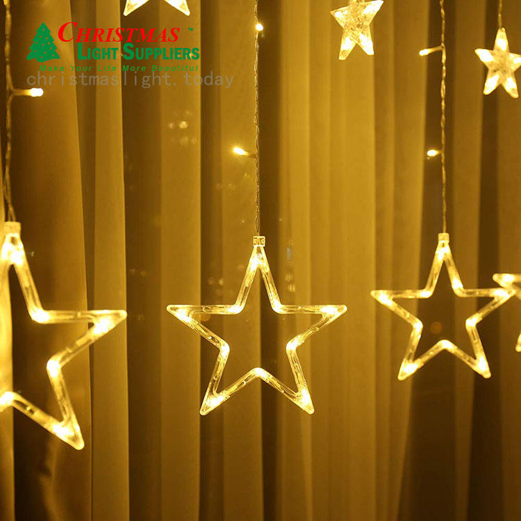Linkable Stars 138 LED Curtain Color Changing String Lights Outdoor Indoor Warm White hanging lights decoration