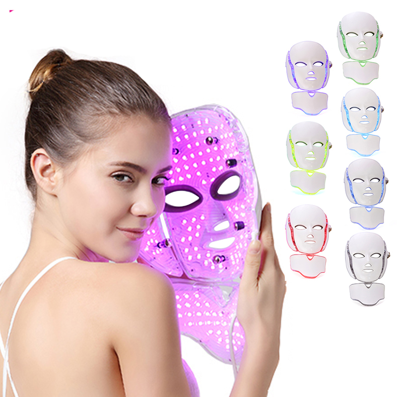 Wholesale 7 colors LED light therapy cover with neck / PDT LED light therapy Spa use facial whitening LED mask