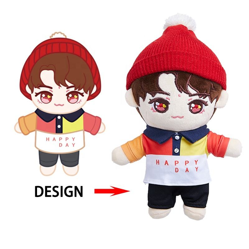 Factory OEM Custom Plushie Make Your Own Plushie Stand Up Stuffed Kpop Idol Doll Toy