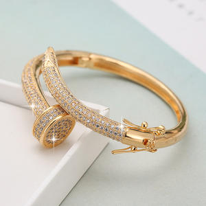 Fashionable 18K gold plating gemstone bangle With Trade Assurance