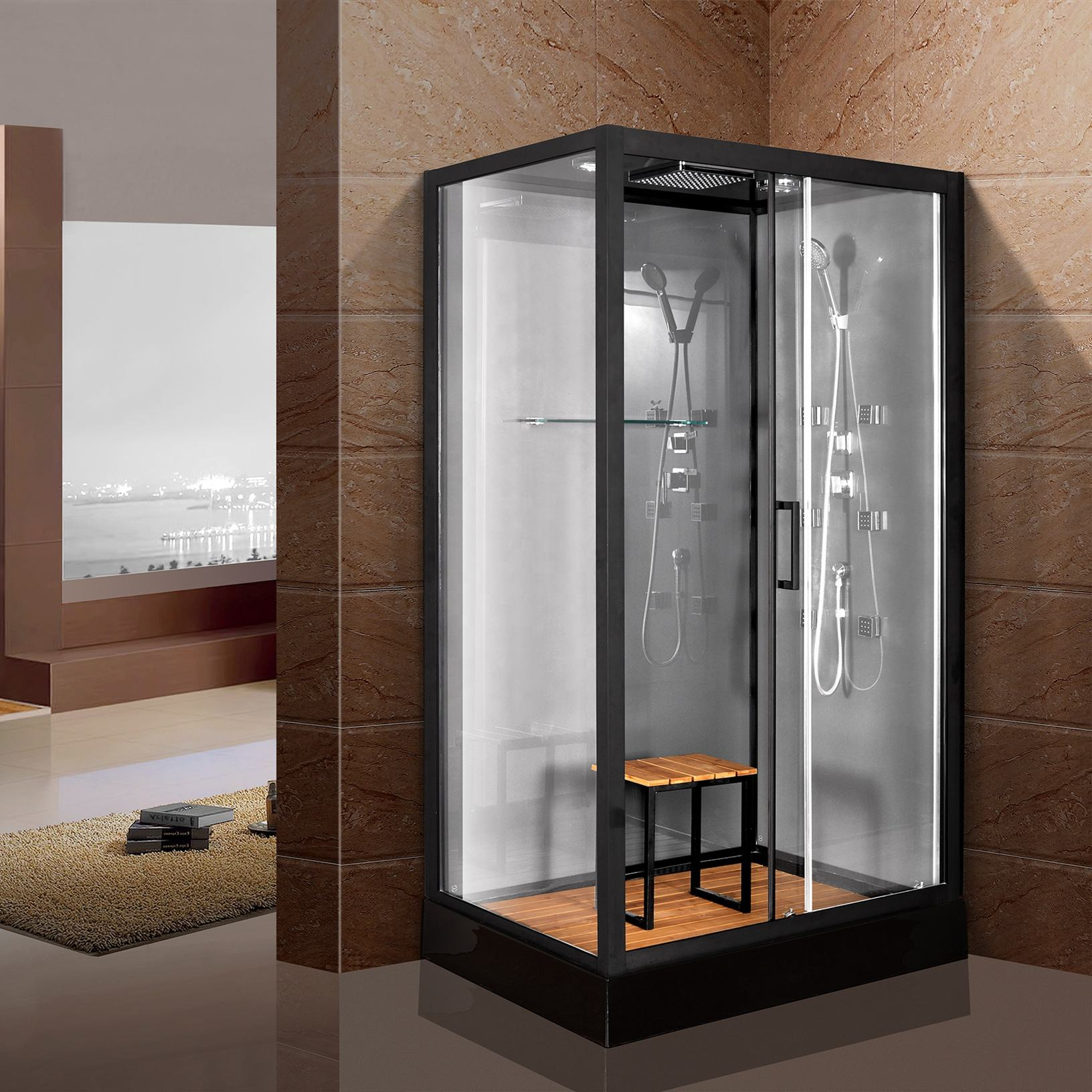 China black aluminum steam luxury hydro massage tempered glass shower room shower cabin in bathroom with seat