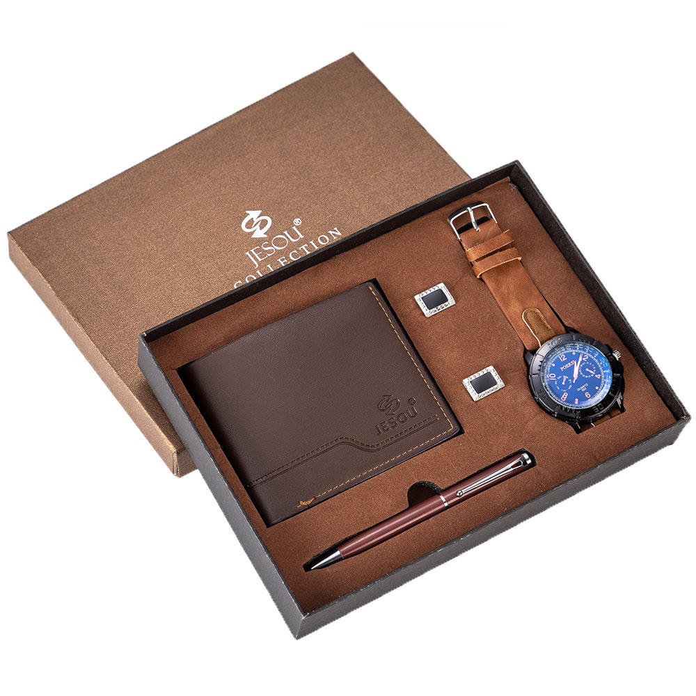 2020 Boutique Package Watch + Wallet Cufflink Pen Set Business Gift Box Set For Men