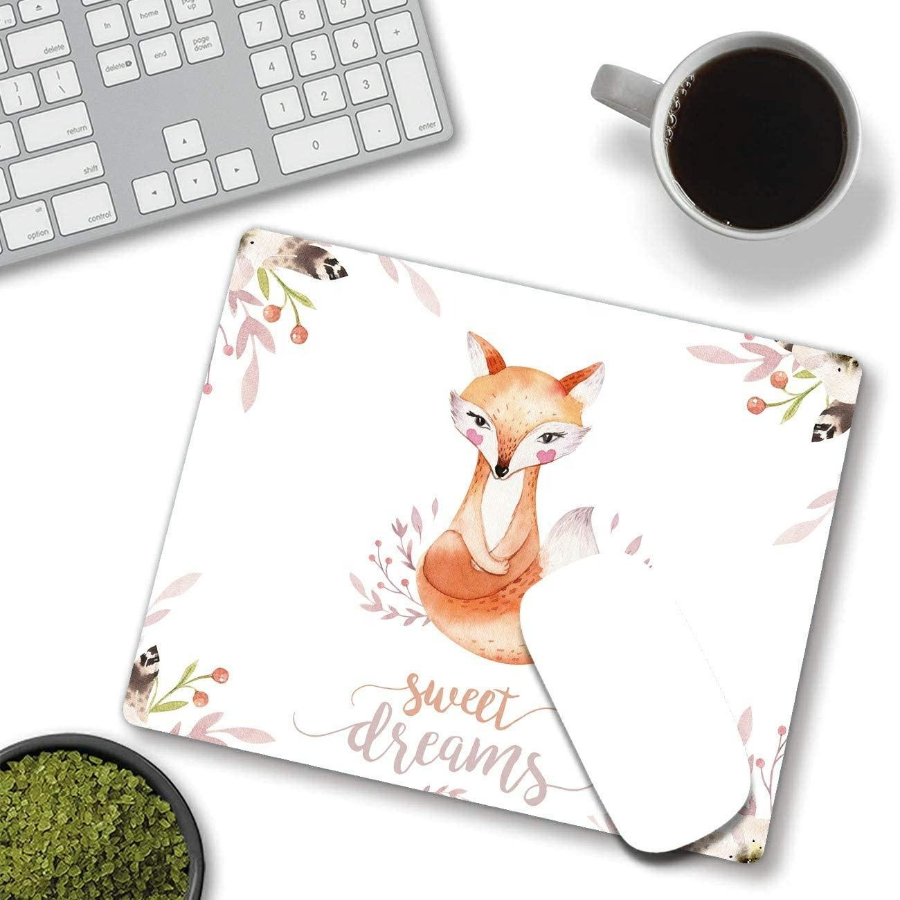Dikoer Sweet Dreams Fox Mouse Pad for Laptops Office Computer Decor、Cute Gaming Mousepad with Design、滑り止めラバーマウスマット