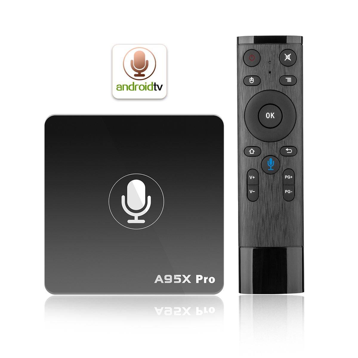 Shizhou Tech S905W Quad Core 2GB 16GB A95X PRO Suara Remote Control <span class=keywords><strong>Android</strong></span> TV 7.1 Kotak ATV