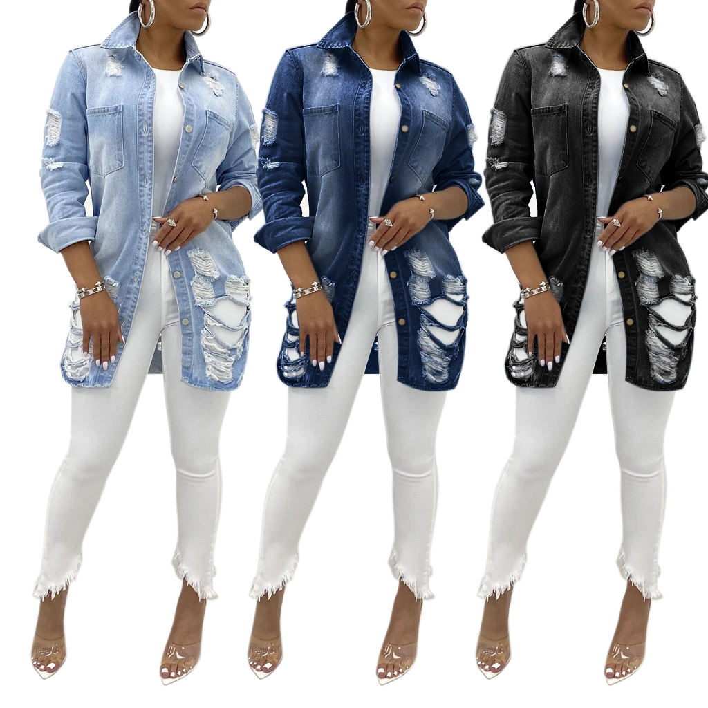 blue demin jacket for women shredded holes sexy jeans jaket women denim
