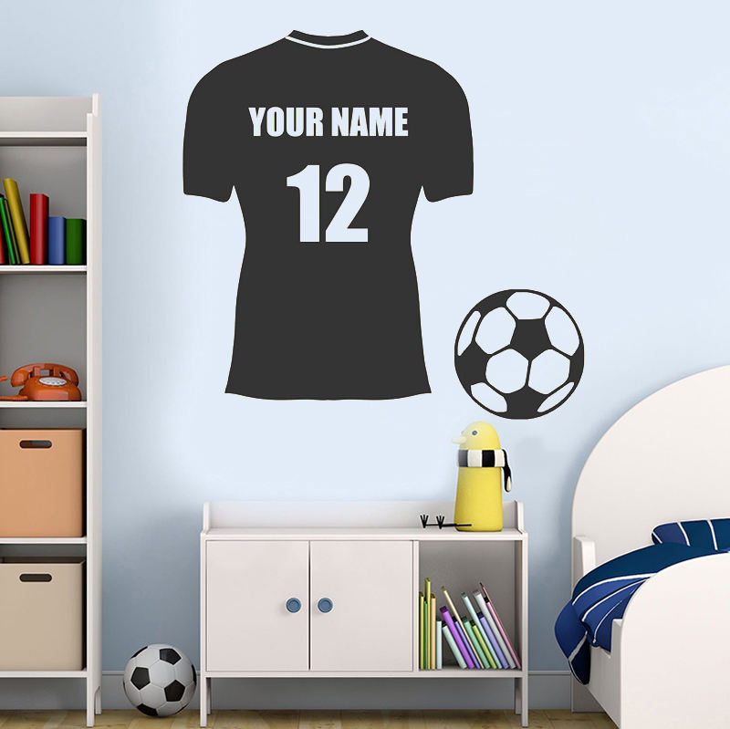Custom Personalised Football Soccer Shirt Wall Sticker Decal Vinyl Adhesive Kids Bedroom