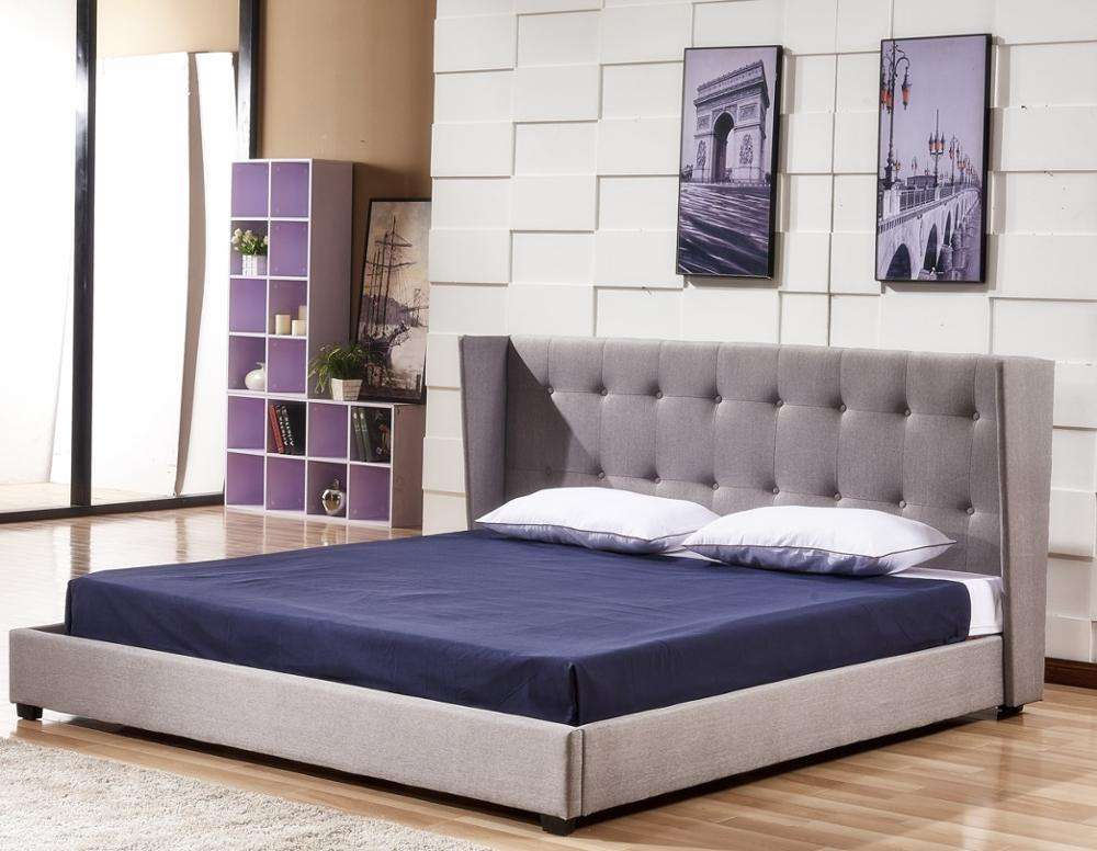 latest modern design wooden frame soft king size bed luxury furniture fabric bed with wing