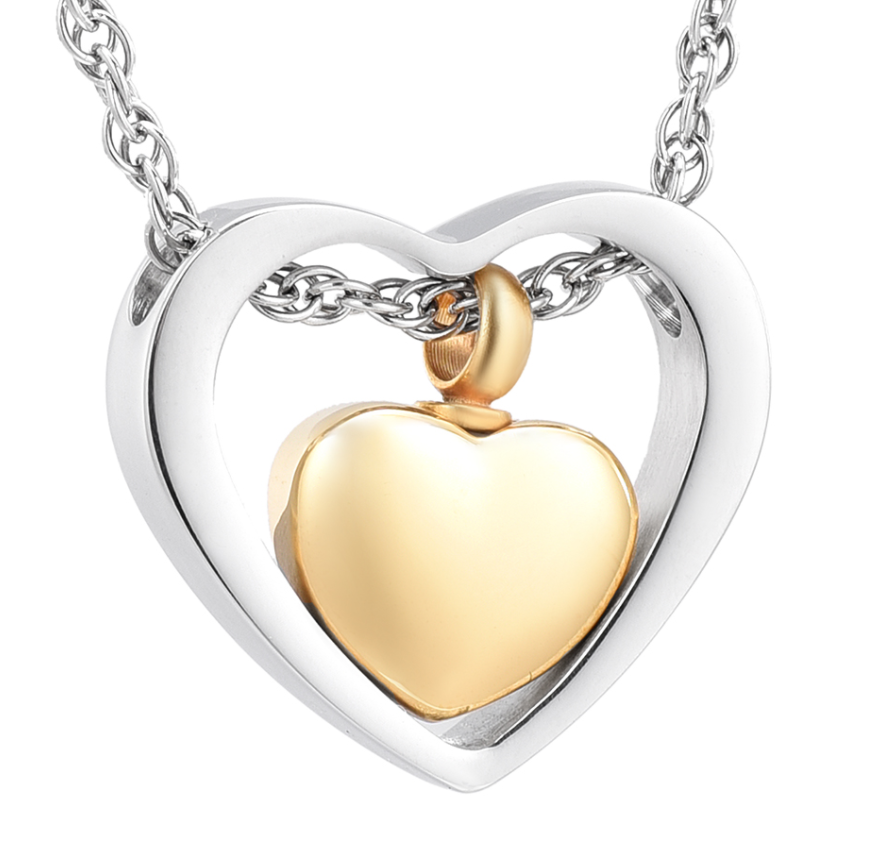 Cremation Jewelry Two Hearts assemble Stainless Steel Ashes buries Necklace Keepsake Pendant Gift For Women heart engravable