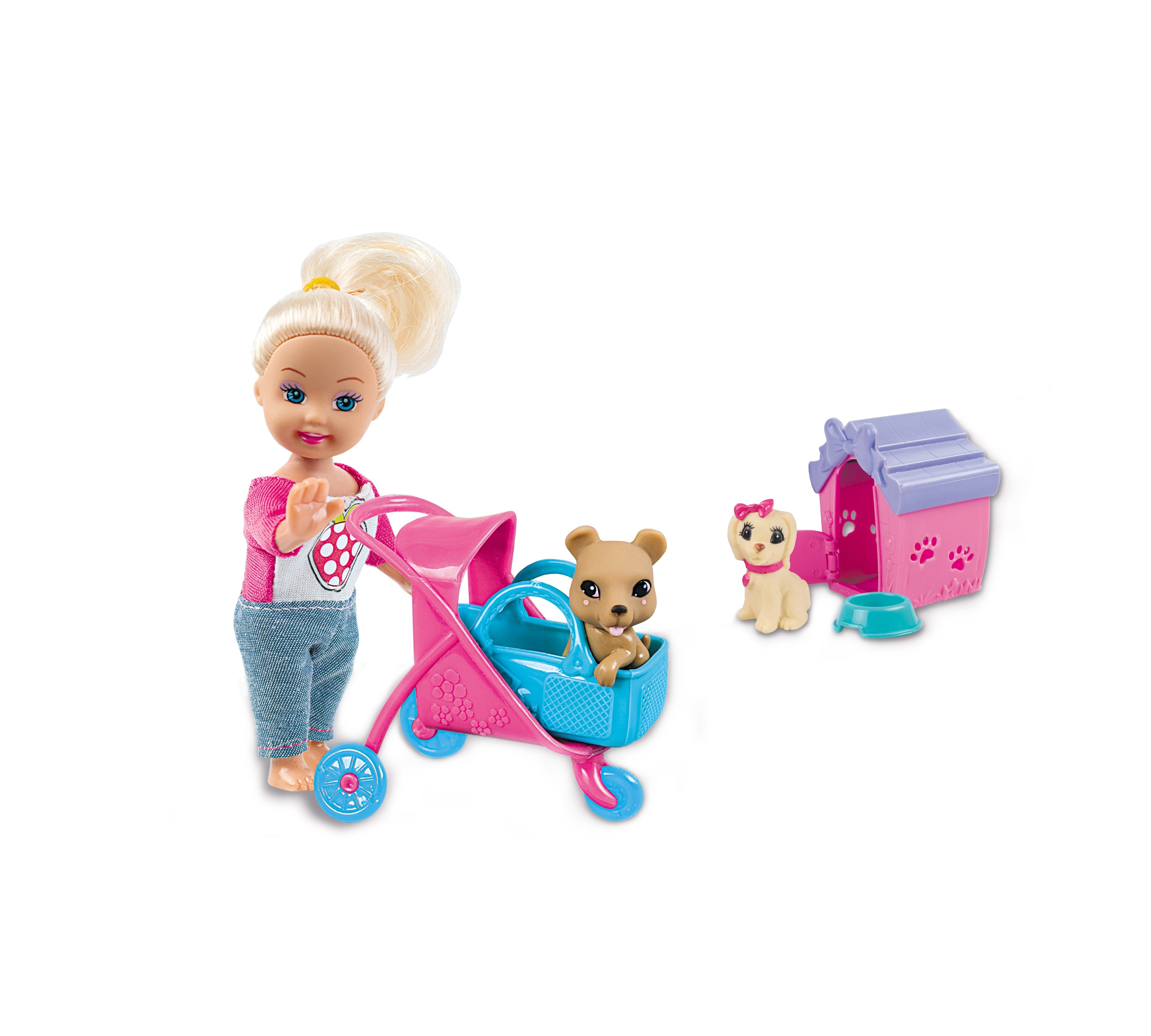 Stroll Play Pups Playset with Blonde Doll 11.5cm 2 Puppies Plastic Stroller Accessories, Small Baby Doll Gift Set For Girl Kids