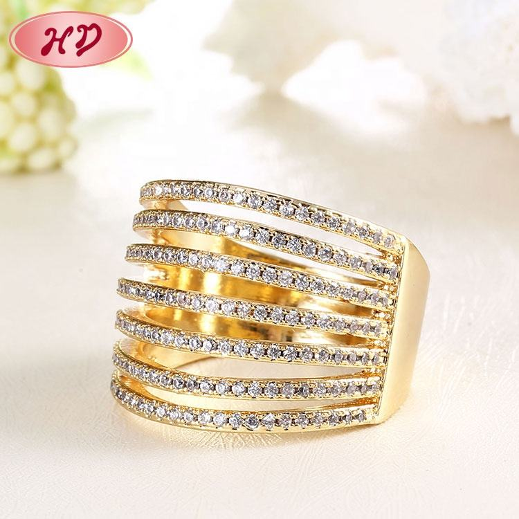 Latest Finger Ring Designs 14K Gold Plated Zircon Jewelry Women Quality And Beautiful Wedding Engagement Rings