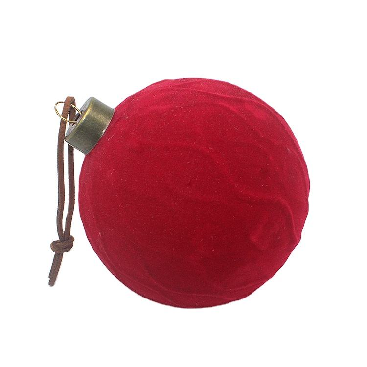 New Arrival Factory Wholesale Velvet Surface Christmas Glass Balls Ornaments Bauble For Xmas Tree Decoration And Holi