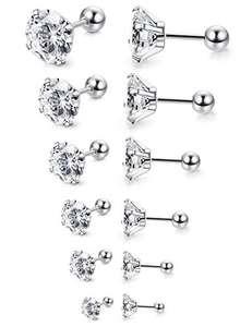 Gaby 6-12 Pairs 18G-20G Stainless Steel Mens Womens Stud Earrings Cartilage Ear Piercings Helix Tragus Barbell CZ 3-8mm
