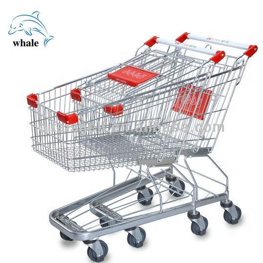 Heavy Duty Collapsible 4 Wheels Foldable Supermarket Chrome Supermarket Grocery Shopping Cart Geaman Shopping Trolley Cart