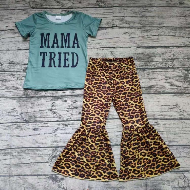 Baby girls wholesale children short sleeve mama tried print shirt top leopard color big ruffle bell bottom pants kids clothing