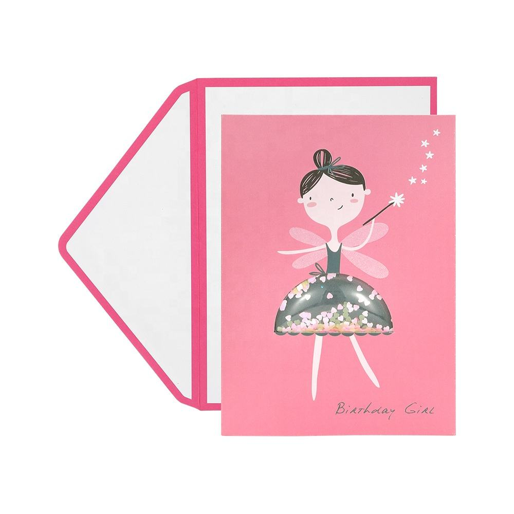 Luxury Kids Glitter Shake Happy Birthday Cards, Custom Printing Funny Handmade 3D Greeting Cards for Girls