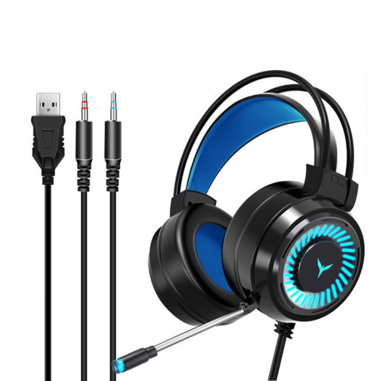 G58 Gaming Headsets Gamer Headphones Surround Sound Stereo Wired Earphones USB Microphone Colourful Light PC Laptop Game Headset