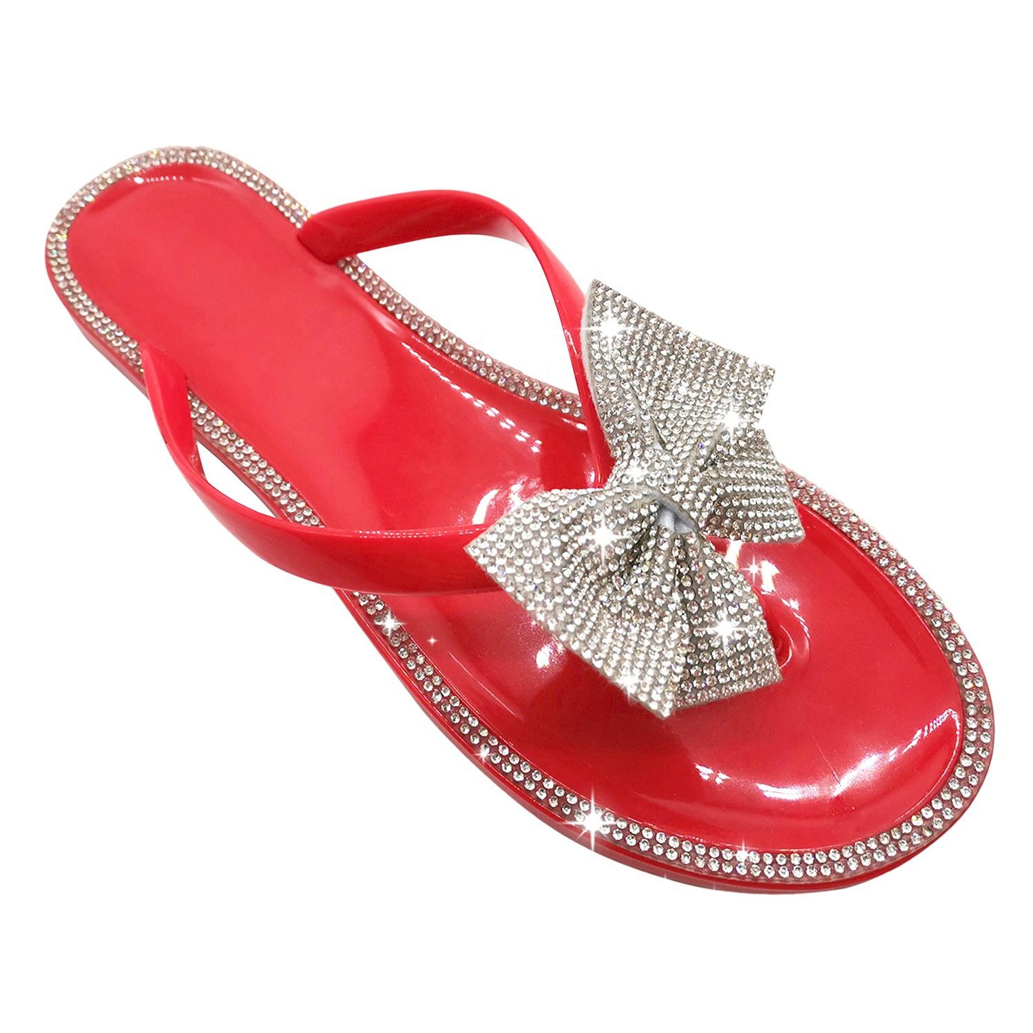 2020 Trend Beach Girl Clear Jelly Shoes Summer PVC Rhinestones Thong Sandals Women Flat Shoes Design