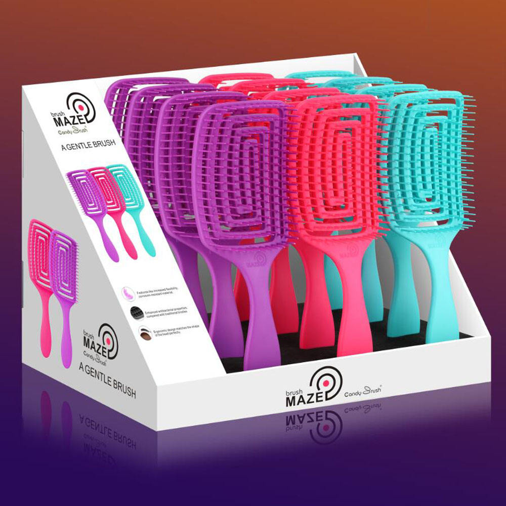 CANDY BRUSH new design MZ-006 detangling flexible hair brush maze brush shape all hair types