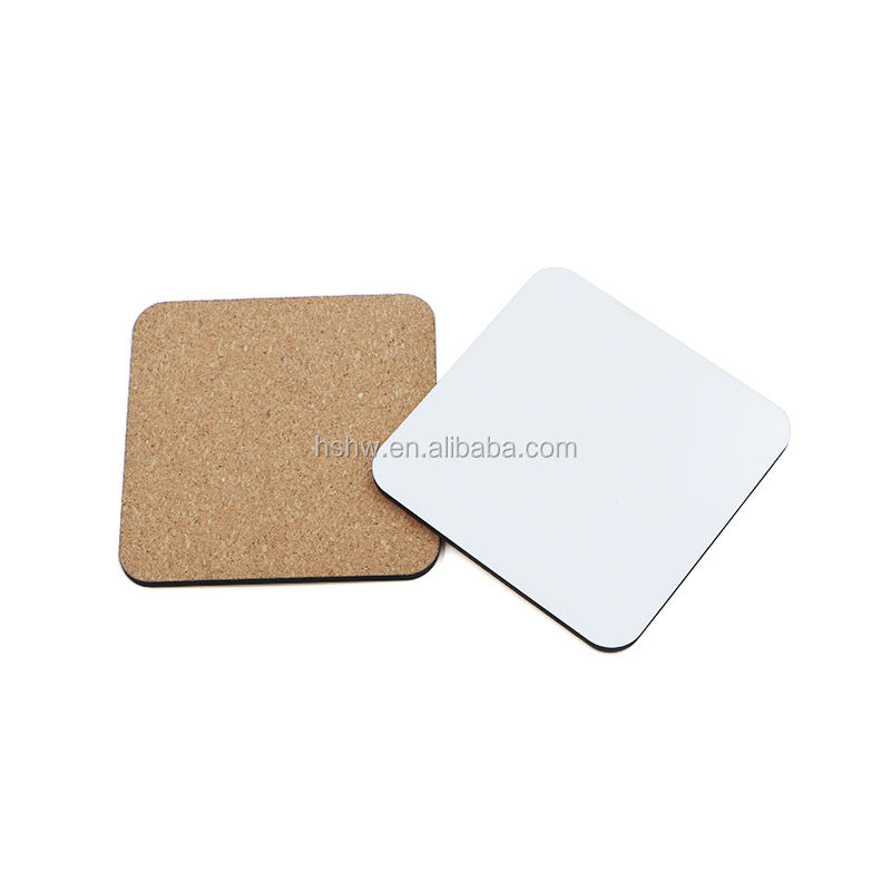 Custom Square Blank MDF Sublimation Coasters With Cork